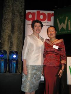 Lindy Chen, finalist in Qld Businesswoman of the Year Awards, with The Hon Margaret Keech, Minister for Tourism, Fair Trading, Wine Industry Development and Women